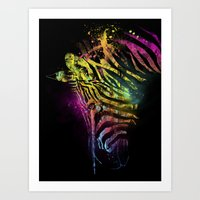 Zebra Mood Technicolor Art Print
