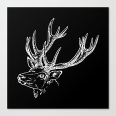 Deer Black White Canvas Print