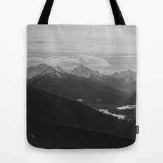 Mountain Landscape Black and White Tote Bag