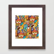 Weird Guys Pattern Framed Art Print