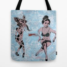 Pinup Girls on a Damask Tote Bag