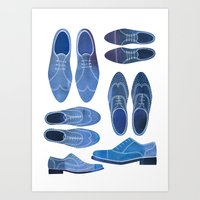 Blue Brogue Shoes Art Print