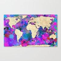 Magenta World Map Canvas Print
