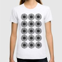 vintage flowers black Womens Fitted Tee Ash Grey SMALL