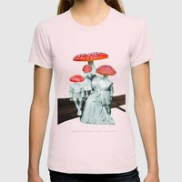 amanita muscaria with children Womens Fitted Tee Light Pink SMALL