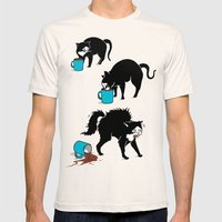 Coffee Cat Mens Fitted Tee Natural SMALL
