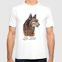 Iberian Lynx Profile Mens Fitted Tee White SMALL