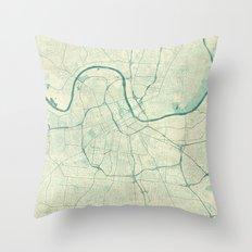 Nashville Map Blue Vintage Throw Pillow