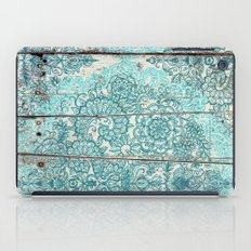 Teal & Aqua Botanical Doodle on Weathered Wood iPad Case