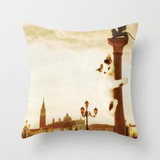 Giant Kitten In San Marc… Throw Pillow