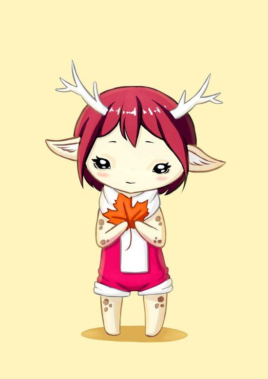 Deer Girl Art Print