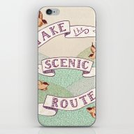 iPhone & iPod Skin featuring Take The Scenic Route Pr… by Alli Coate