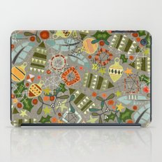 vintage christmas silver iPad Case