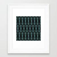 Damask Blue On Black Framed Art Print