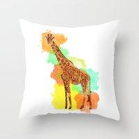 GIRAFFE: THE GENTLE GIANT Throw Pillow