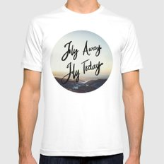 Fly Away Fly Today SMALL White Mens Fitted Tee