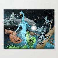 The Swan's Procession Canvas Print