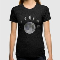 Phases Of The Moon Womens Fitted Tee Tri-Black SMALL