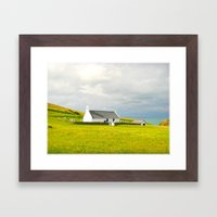Mwnt Chapel. Cardigan. Embossed. Framed Art Print