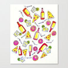 Vices - Illustration - liquor, junk food, beer, smoking, donuts, pizza Canvas Print
