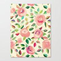 Pastel Roses In Blush Pi… Canvas Print