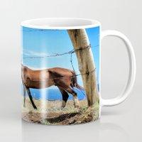 Horses against a blue sky Mug