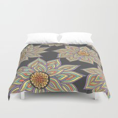 Floral Rhythm In The Dark Duvet Cover