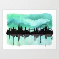 Mint Green London Skyline 2 Art Print