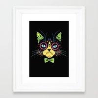 Sugar Skull Cat Framed Art Print