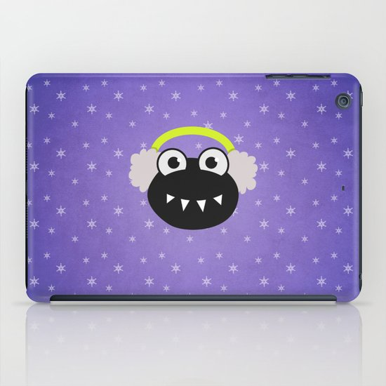 Purple Cute Cartoon Bug With Earflaps In Winter iPad Case