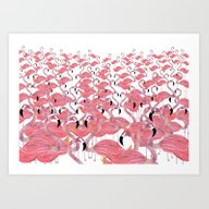 Art Print featuring Flamingos by Lydia Coventry