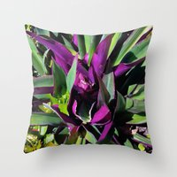 Purple and Green Throw Pillow