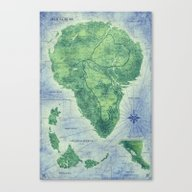 Jurassic Park - Map - Co… Canvas Print