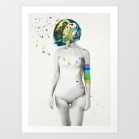robot Art Prints featuring Robot Rock #2 by Jenny Liz Rome