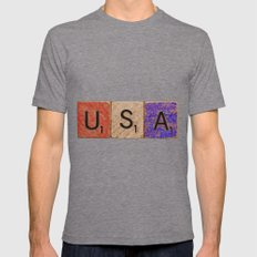 USA Tile Mens Fitted Tee Tri-Grey SMALL