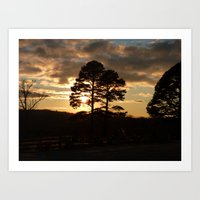 sunset trees 2016 Art Print