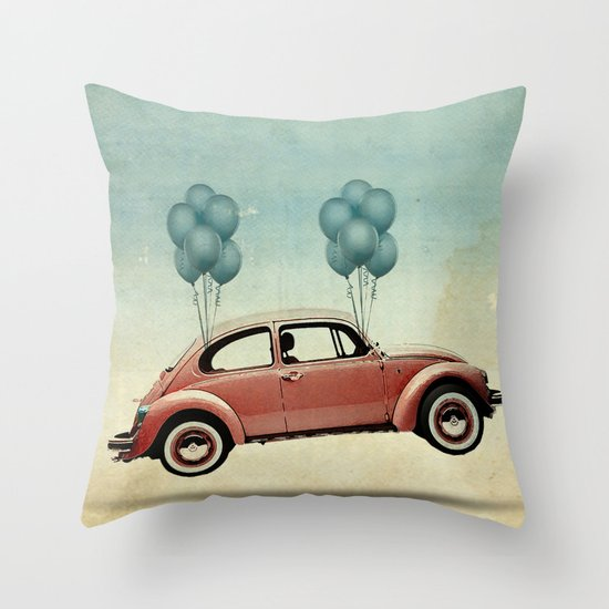 take flight, VW Beetle Throw Pillow