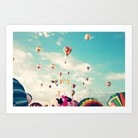 Balloons Taking Off Art Print