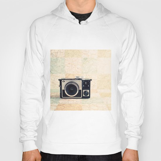 Film Camera on Sweet colour beige background - Retro Photography  Hoody