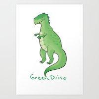 Green Dino Art Print