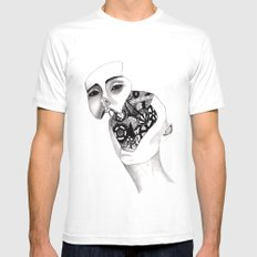 Robot White SMALL Mens Fitted Tee