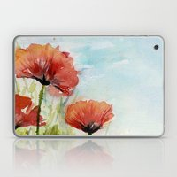 Red Poppies Watercolor  Laptop & iPad Skin