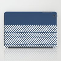 Herringbone Boarder Navy iPad Case