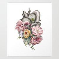 Floral Anatomy Heart Art Print