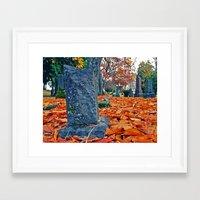 Framed Art Print featuring Autumn graveyard by Vorona Photography