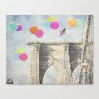 Bright Brooklyn Bridge B… Canvas Print
