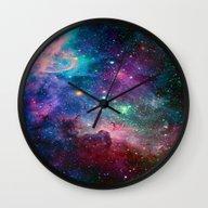 Wall Clock featuring Galaxy by Hadeel Alharbi