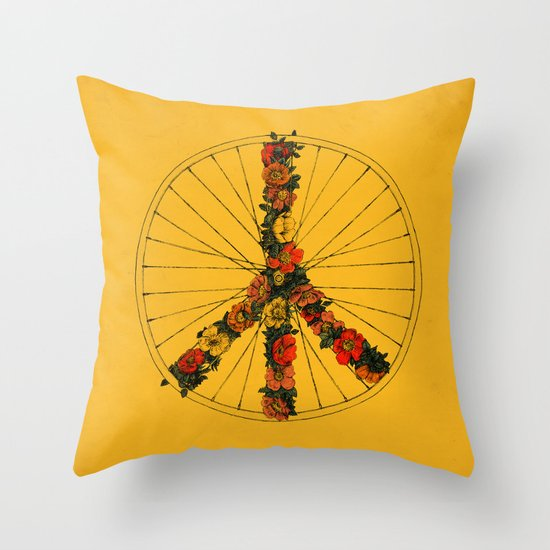 Peace & Bike (Colors) Throw Pillow