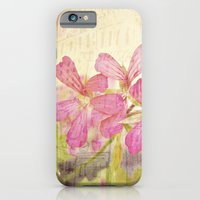 iPhone & iPod Case featuring Vintage Whimsical Watermelon Pink Summer Geraniums in the City Montage Collage _  très chic by V. Sanderson / Chickens in the Trees
