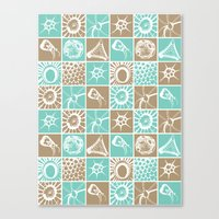 Microscopic Life Sillouetts Blue and Taupe Canvas Print